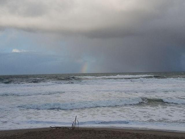 View of our favorite beach, with a rainbow 12/27/2016