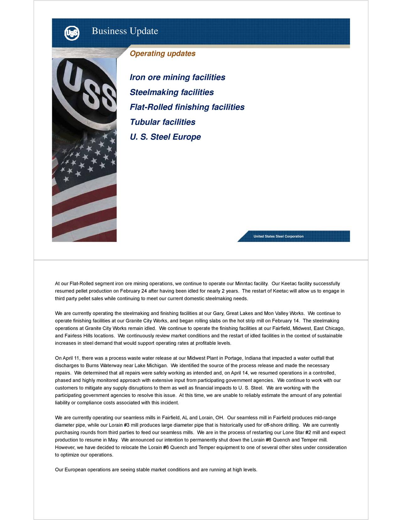 United States Steel Corporation 2017 Q1 Results